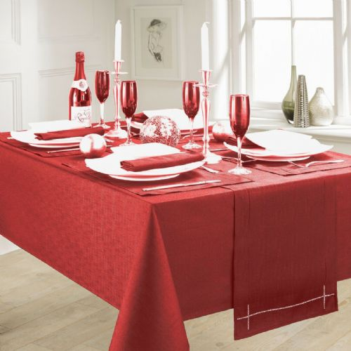 LINEN LOOK PLAIN SLUBBED XMAS CHRISTMAS TABLECLOTH OR RUNNERS DINNER PARTY LINEN RED